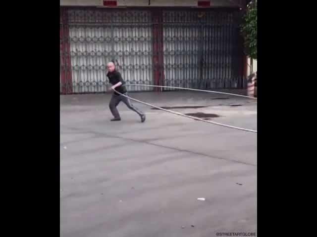 World's biggest hula hoop? This guy has skills!