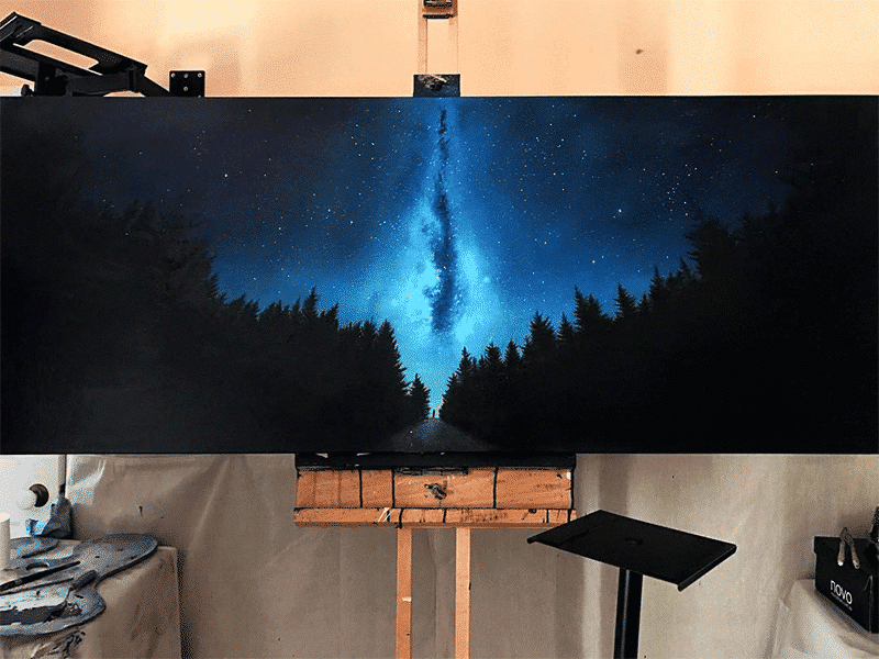 The Milky Way Photorealistic Oil Painting