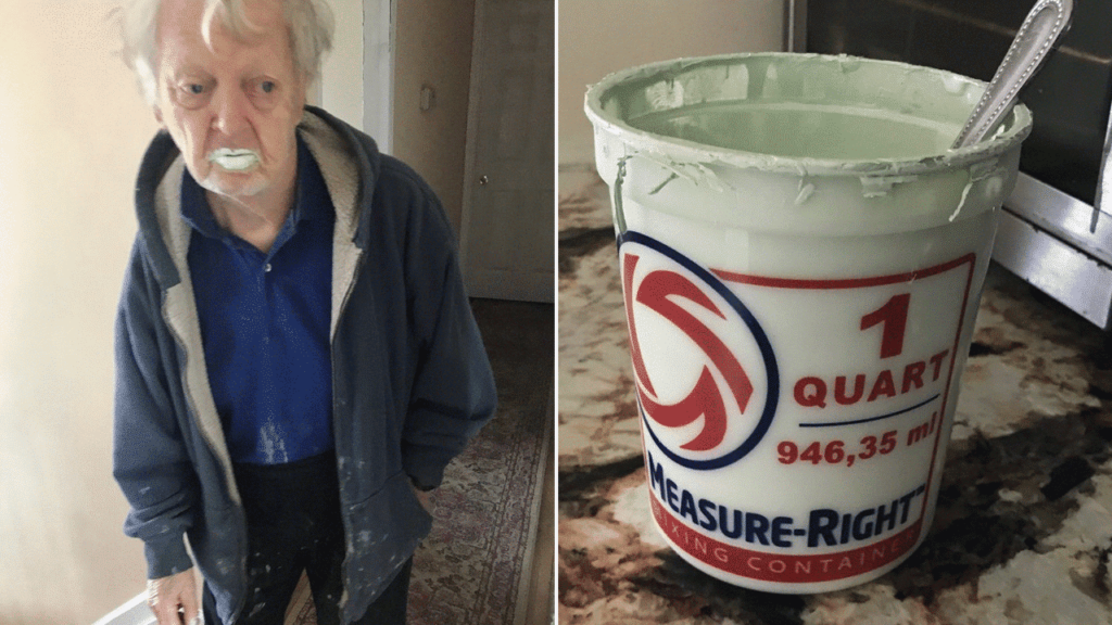 Grandpa Eats Paint Thinking it is Yoghurt