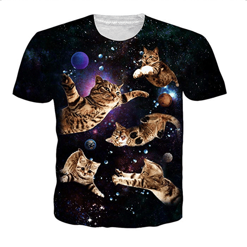 floating space cats t-shirt