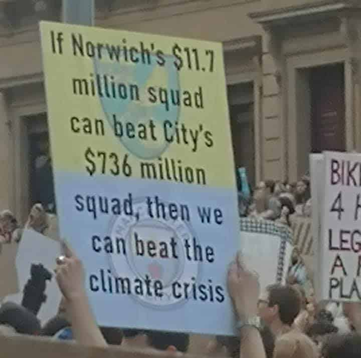 Norwich City supporter spotted amongst protest in Melbourne, Australia